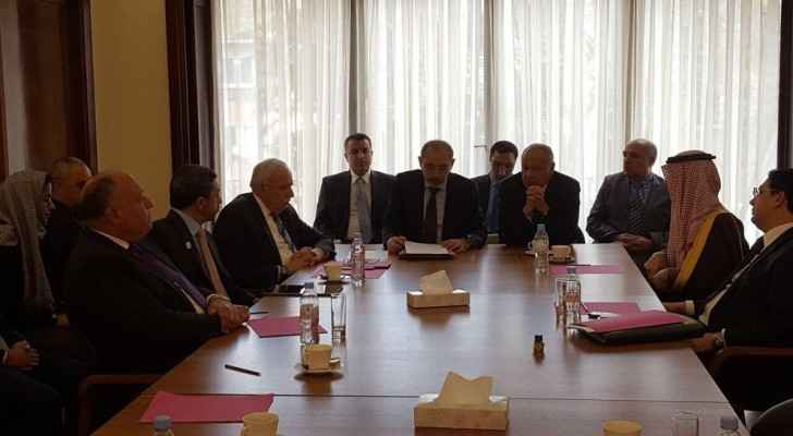 European foreign ministers and the Arab ministerial committee held a meeting in Brussels. (Ayman Safadi Twitter)