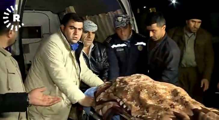The body of one believed migrant arrives at Soran hospital.  (Rudaw TV)