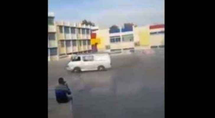 The mini-van drifting in the school yard (video of the incident)
