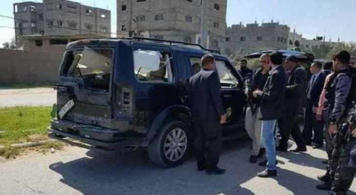 Image of the attacked convoy cars in Gaza. (Maan News Agency)