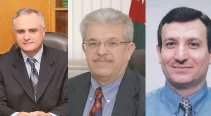 Dr. Najeeb Abou Karak on the left,  Dr. Zeidan Kafafi in the middle and Dr. Saeb Khreisat on the right (Enjaz news)