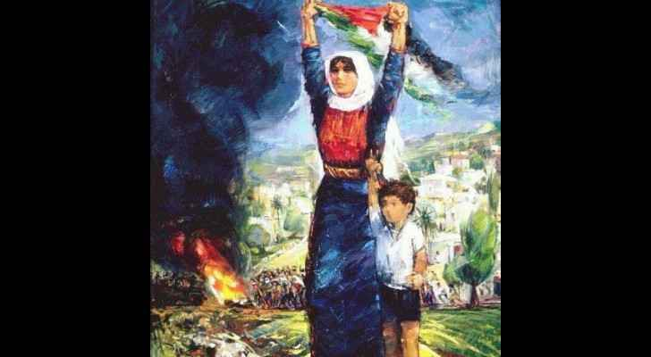 Painting by Palestinian artist, Ismail Shammout.