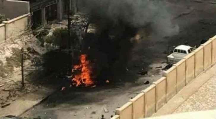 Burning remains of the targeted car. (Al Arabiya)