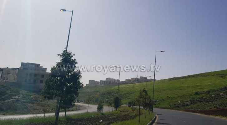 Light poles were lit up during the daytime in Amman this week. (Roya)