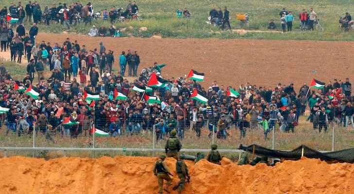 Unarmed Palestinian protesters in Gaza on Friday.