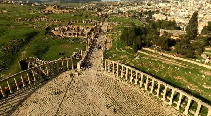 Footage show Jerash, the ancient city in norther Jordan during spring. (footage.framepool.com)