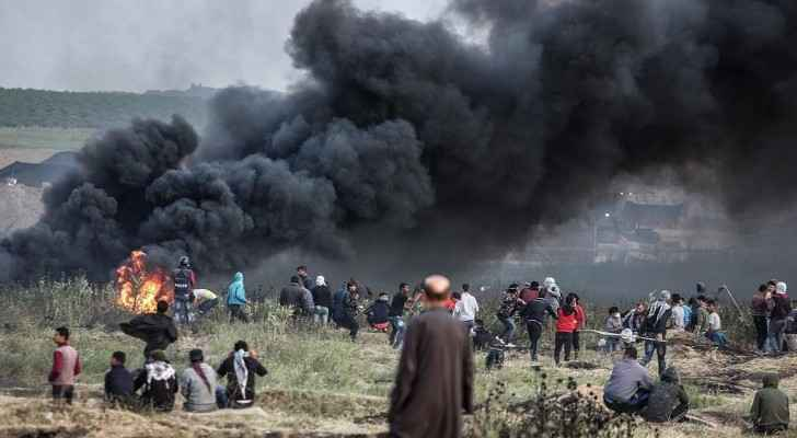 At least 10,000 tyres have been amassed near the Gaza border (Maan news agency)