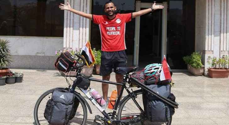 "Egyptian biker Mohamed ""Ibn Nufal"" Nufal with his bike. (Facebook)"