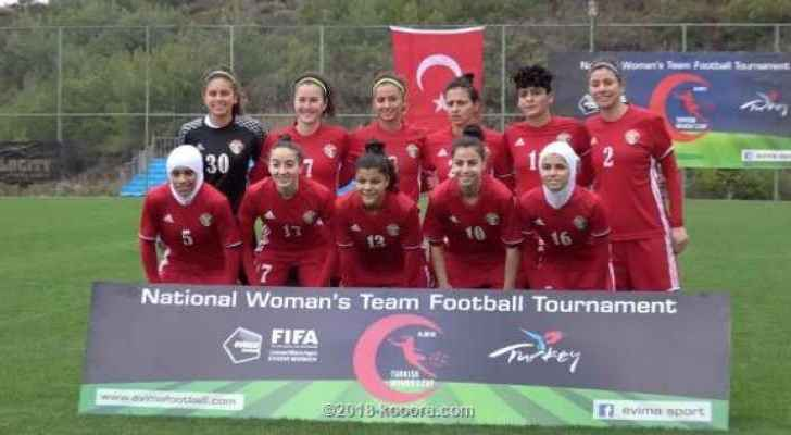 The Jordanian women's national football team. (File Photo)