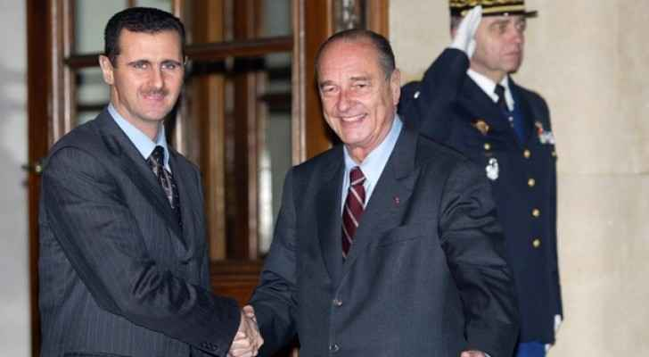 Bashar Al-Assad with the former French President Jacques Chirac. (MiddleEastEye)