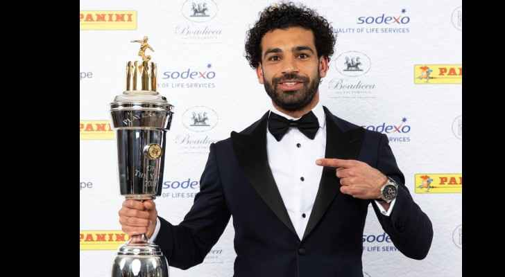 Mohammed Salah recieving the award of Player of the Year. (PFA )