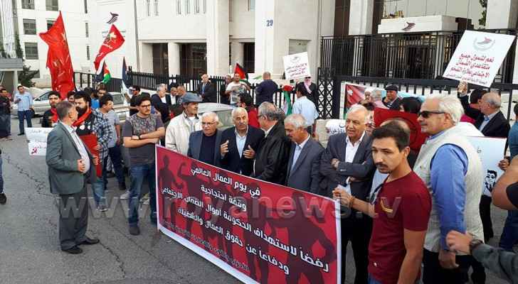 Leftist parties and Jordan Independent Trade Union Federation organized the protest on Labour Day.