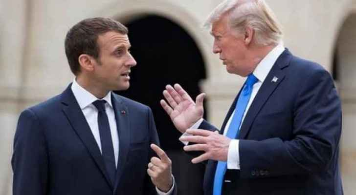Donald Trump and Emmanuel Macron (on the left)