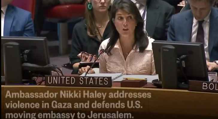 US Ambassador to the UN Nikki Haley during the UN SC emergency meeting.