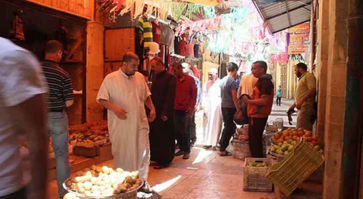 Jordanians shopping at a market in Salt city. (Roya)