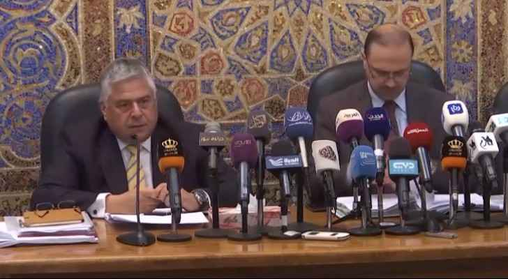Minister of Finance Omar Malhas  during the press conference on Monday.