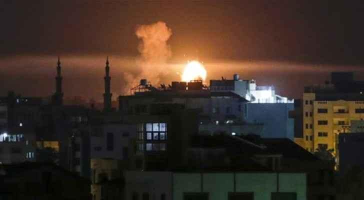 Gaza during the airstrikes last night