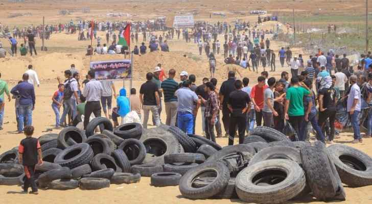 Photo of the demonstrations near the Gaza borders today