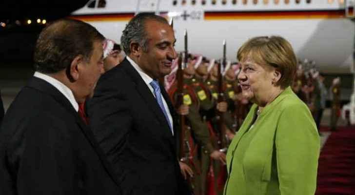 Merkel arrives at Marka Military Airport on Wednesday, June 20, 2018