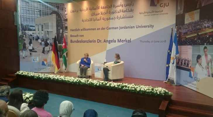 Angela Merkel meets students of the German Jordanian University. (Roya English)