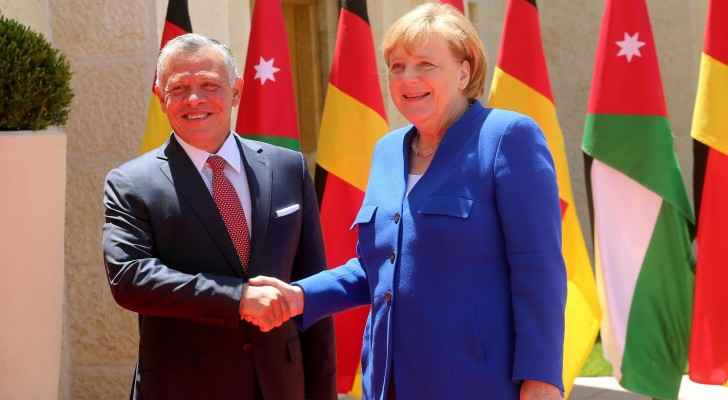 King Abdullah II and Angela Merkel in Al Husseiniya Palace.