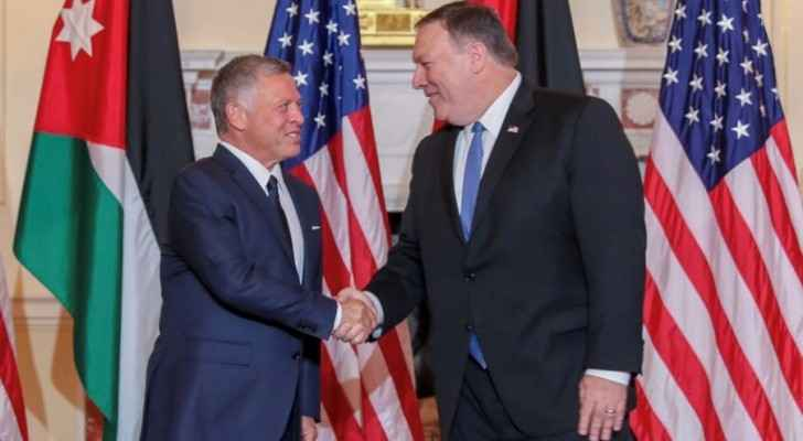 King Abdullah, Mike Pompeo at the US State Department.