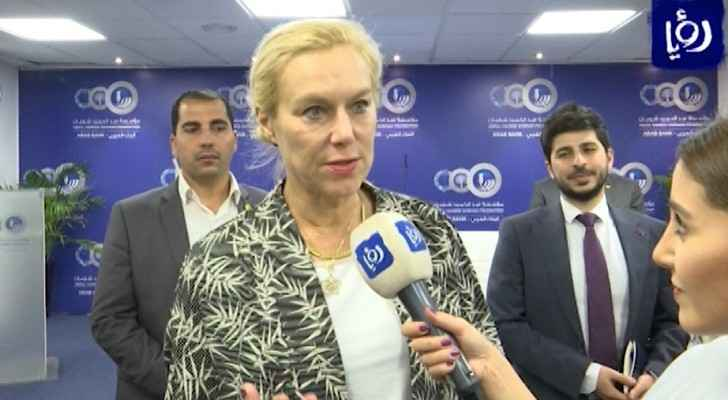 Dutch Minister, Sigrid Kaag, during a meeting with Jordanian officials.