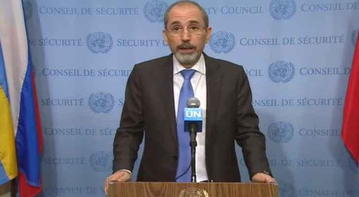 Ayman Safadi talking to reporters after the meeting (UN)