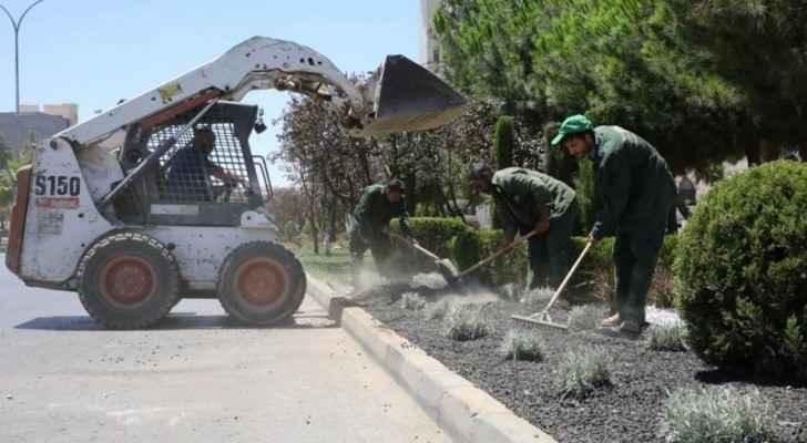 Municipality workers gardening (Municipality of Amman)