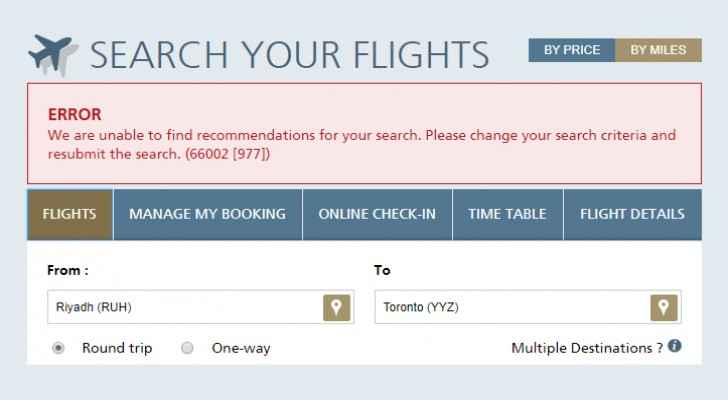 Searching for flights to Toronto returns error. (Saudia Airline Website)