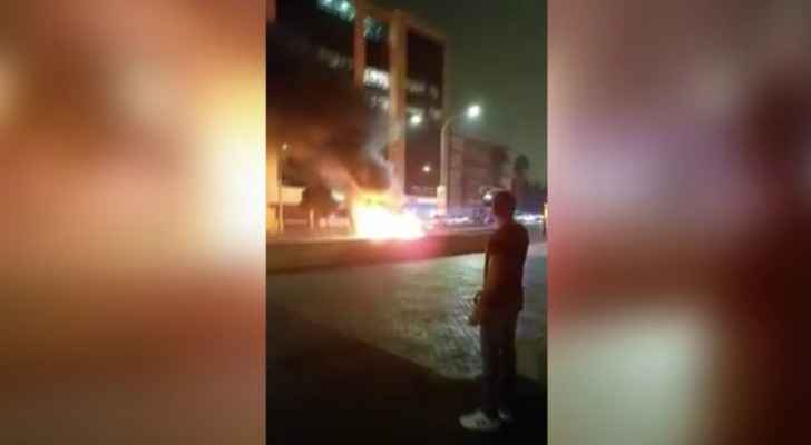 The car caught fire after aggressively crashing into a traffic island. (Roya)