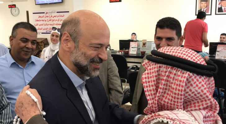 PM Omar Razzaz during his visit to the Civil Service Retirement Directorate, August 7, 2018.