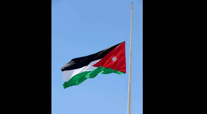 Jordanian flag at half-mast in memory of martyrs