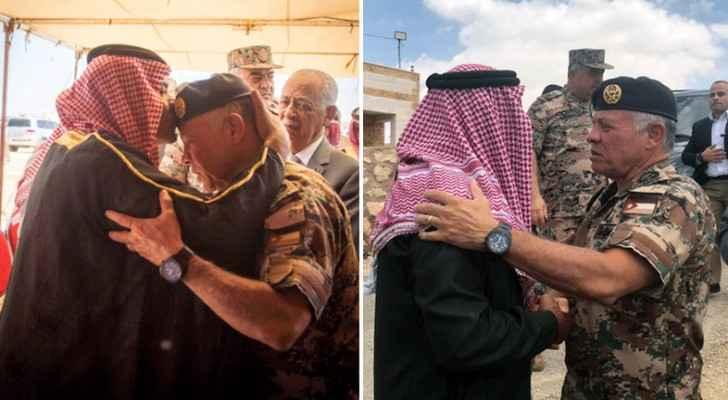 King visits families of martyr Huwaitat, martyr Aqarbeh
