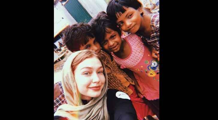 Gigi Hadid at the Jamtoli Refugee Camp, Cox's Bazar, Bangladesh. (Instagram)