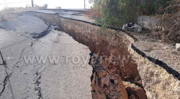 Roadworks caused the road to split in half. (Roya)