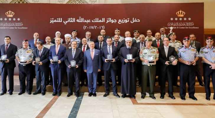 Jordanian monarch attends King Abdullah II Award for Excellence
