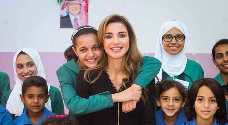 Queen Rania celebrates school Gold-Level accreditation with students, teachers, staff