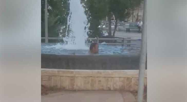 It is unknown why the man was swimming in the fountain. (Facebook)