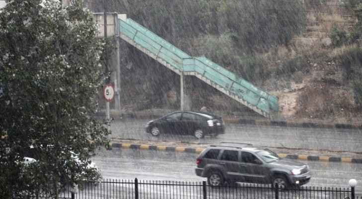 It was a seriously rainy night in Amman on Sunday. (JT)