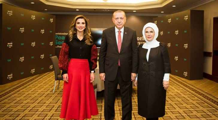 Queen Rania speaks at TRT World Forum, meets Turkish President, First Lady