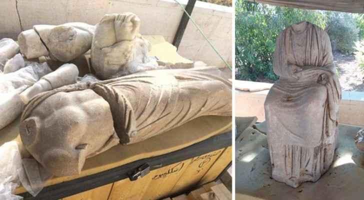 Rare Roman statues in Jerash