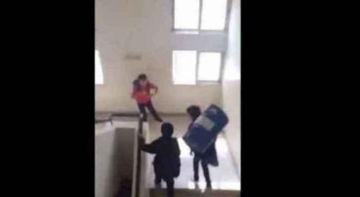 Video screenshot of Madaba school vandalism