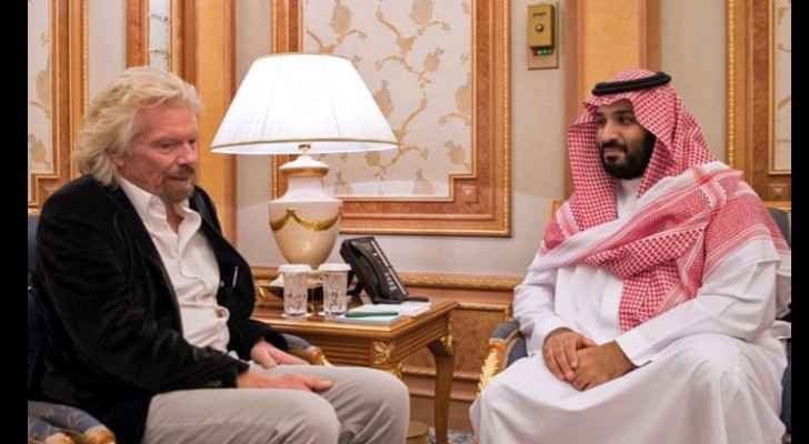 Sir Richard Branson with Saudi Crown Prince, Mohammed bin Salman, in Riyadh, 2017. (AFP)
