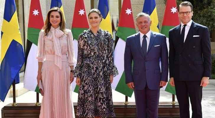 King and Queen of Jordan meet with Crown Princess and Prince of Sweden