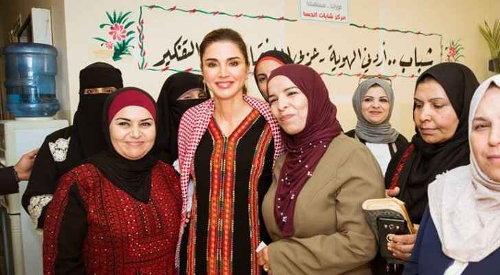 Queen Rania meets with women from Tafileh's Family Empowerment project