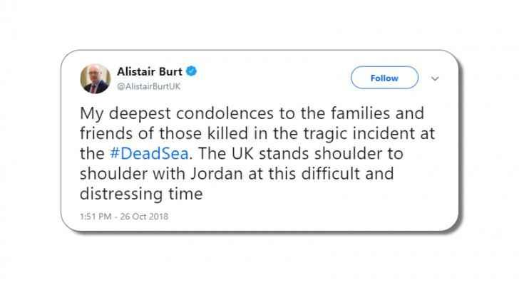 UK Minister of State, Alistair Burt, condoles Jordan