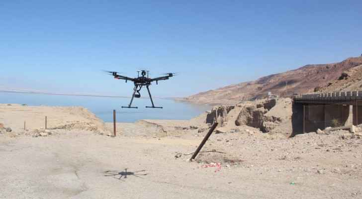 Camera-Equipped drones are used in searching the area.