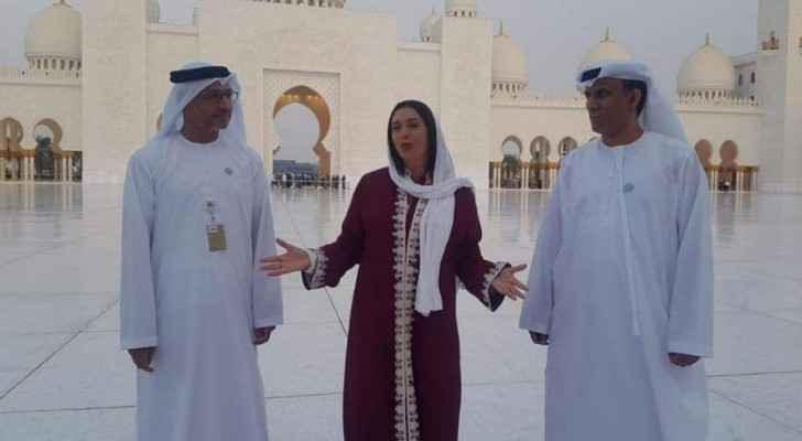 Regev inside Sheikh Zayed Grand Mosque.