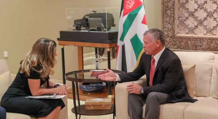 King Abdullah and Canadian FM Chrystia Freeland